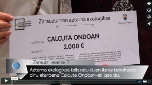 Aztarna ekologikoa kalkulatu duen ikasle bakoitzeko diru ekarpena Calcuta Ondoan-ek jaso du.