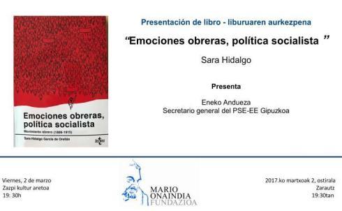 Presentación del libro Emociones obreras, política socialista liburuaren aurkezpena